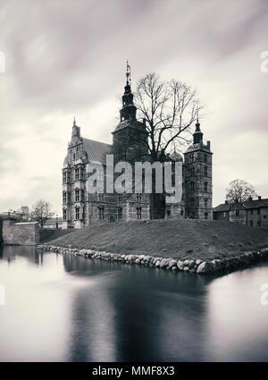 Rosenborg castle in Copenhagen. Black and white. - Stock Photo