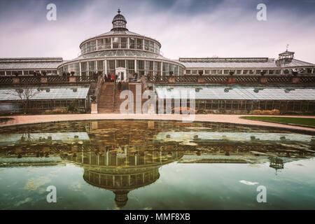 Copenhagen botanical gardens with people in motion blur. - Stock Photo