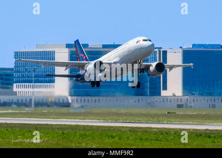 Airbus A319-111 from Brussels Airlines taking off from runway at the Brussels-National airport, Zaventem, Belgium - Stock Photo