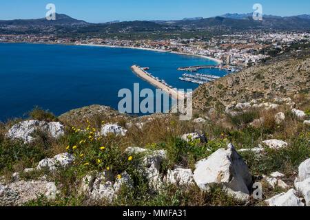 The beautiful panoramic view from Cap de Sant Antoni in Xabia, Spain. - Stock Photo
