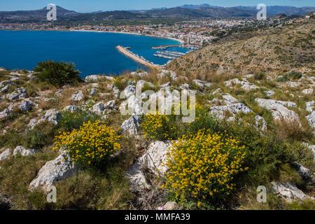 The beautiful panoramic view from Cap de Sant Antoni in Xabia, Spain.  d Montgo. - Stock Photo