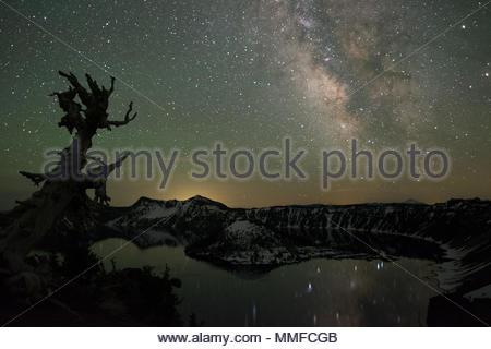 Crater Lake at night in Crater Lake National Park. - Stock Photo