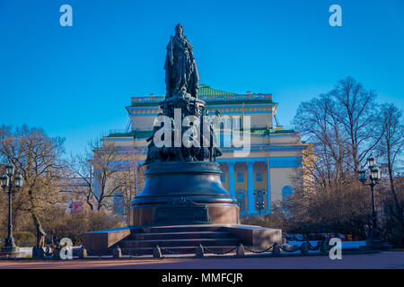 ST. PETERSBURG, RUSSIA, 01 MAY 2018: Monument to Catherine the Great on Ostrovsky Square, monument is made of 3,100 pounds of bronze. Height figure of Catherine Great of 4.35 m in st. Petersb, Ru - Stock Photo