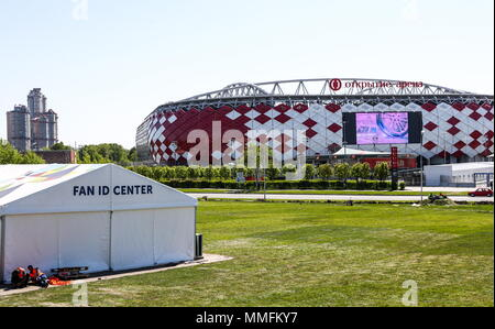 Moscow, Russia. 11th May, 2018. MOSCOW, RUSSIA - MAY 11, 2018: A view of Spartak Stadium, a venue for 2018 FIFA World Cup matches. Stanislav Krasilnikov/TASS Credit: ITAR-TASS News Agency/Alamy Live News - Stock Photo