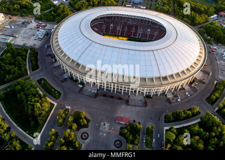 Moscow, Russia. 11th May, 2018. MOSCOW, RUSSIA - MAY 11, 2018: An aerial view of Luzhniki Stadium, a venue of the 2018 FIFA World Cup in Russia. Sergei Bobylev/TASS Credit: ITAR-TASS News Agency/Alamy Live News - Stock Photo