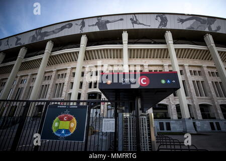 Moscow, Russia. 11th May, 2018. MOSCOW, RUSSIA - MAY 11, 2018: A view of Luzhniki Stadium, a venue of the 2018 FIFA World Cup in Russia. Sergei Bobylev/TASS Credit: ITAR-TASS News Agency/Alamy Live News - Stock Photo
