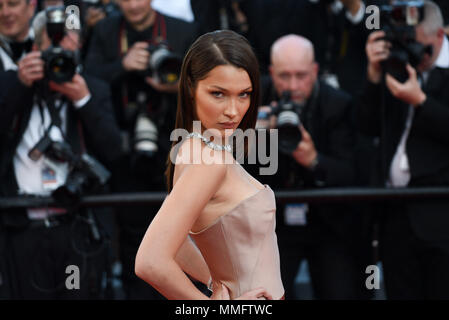 Cannes, France. May 11, 2018 - Cannes, France: Bella Hadid attends the 'Ash is the Purest White' premiere during the 71st Cannes film festival. Credit: Idealink Photography/Alamy Live News - Stock Photo