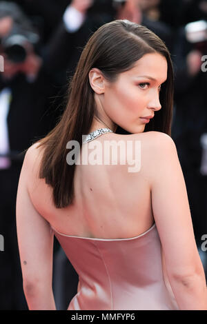 Cannes, France. 11th May 2018. Bella Hadid on the 'Ash Is Purest White' Red Carpet on Friday 11 May 2018 as part of the 71st International Cannes Film Festival held at Palais des Festivals, Cannes. Pictured: Bella Hadid. Picture by Julie Edwards. Credit: Julie Edwards/Alamy Live News - Stock Photo