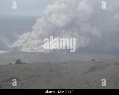Ash Plume from Kilauea Volcano Hawaii today (05/15/2018 HST) or 05/16/2018 - Stock Photo