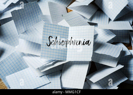 a pile of pieces of paper folded in half, and the text schizophrenia in one of them unfolded on top - Stock Photo