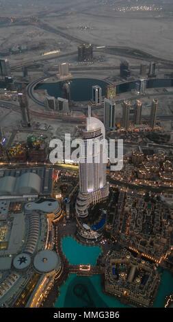 Panorama sunset view to Dubai skyscrapers - 10-01-2015 UAE - Stock Photo
