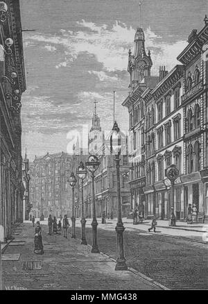SAN FRANCISCO. Montgomery Street—The Palace Hotel in the Distance 1882 print - Stock Photo
