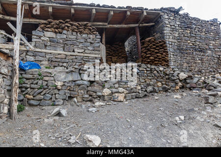 Ancient village of Khinalig in the mountains - Stock Photo