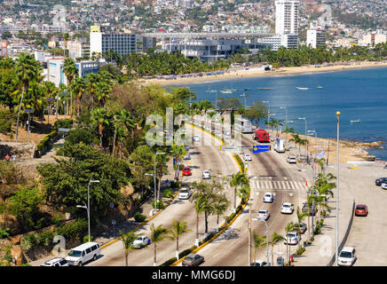 Traffic in Av Costera Miguel Aleman at Acapulco in Mexico - Stock Photo