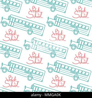 School bus in green outline with red calligraphy, Back to school random on white background. Seamless pattern background design for school and educati - Stock Photo