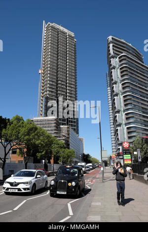 A view of new skyscrapers The Canaletto Building and 250 City Road under construction, high rise residential towers Islington London UK KATHY DEWITT - Stock Photo