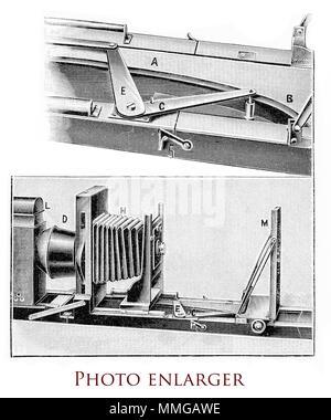 Photgraphy equipment, photo enlarger, XIX century engraving - Stock Photo