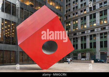 USA; New York;Manhattan; Federal Hall; Wall Street; lower Manhattan; Isamu Noguchi's Red Cube; Financial District - Stock Photo