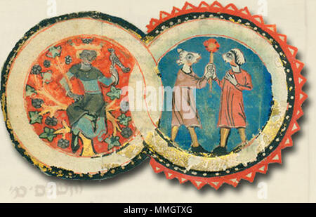 . English: An illustration from the Tripartite Mahzor. The most interesting and most enigmatic of all of them is without doubt the sign of Gemini. Generally, the representation of this sign ranges from a transformation of Castor and Pollux as a caressing pair of a male and female to two armed knights embracing in a fight. In our case we can see two dog-headed figures facing each other holding an unidentifiable device with a shaft in their hands (a mirror with a red frame? a shaft or stick with a red plate? a flower?). It also seems as if the figure on the right had a kerchief on its head, sugg - Stock Photo