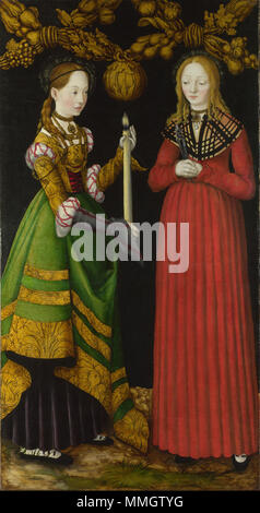 . Reverses of Shutters (left wing) of the St Catherine Altarpiece in Dresden (Germany), Galerie Alte Meister  English: Saints Genevieve and Apollonia Lucas Cranach the Elder - Saints Genevieve and Apollonia - Google Art Project - Stock Photo