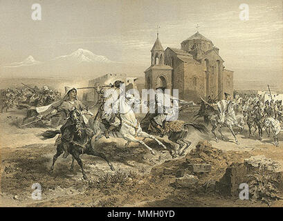 . English: Kurds and Persians attacking Vagharshapat, by Prince Grigory Gagarin, Paris, 1847 فارسی: حمله کردهای محلی به همراه ایرانیان به سهکلیسا (اچمیادزین). نگاره از گریگوری گاگارین، پاریس. ۱۸۴۷. Français : Escarmouche de Persans et de Kurdes. ქართული: სასომხეთი, სპარსელები და ქურთები, 1847, გრიგოლ გაგარინი  . Published 1847.   Grigory Gagarin  (1810–1893)     Alternative names Grigory Grigorievich Gagarin  Description Russian artist, diplomat, iconographer and painter  Date of birth/death 11 May 1810 30 January 1893  Location of birth/death Saint Petersburg, Russia Châtellerault, France  W - Stock Photo