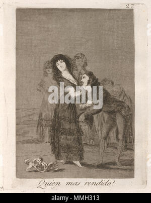 . Los Caprichos series, plate 27  Francisco de Goya, Quien mas rendido?  (Which of Them Is the More Overcome?), Spanish, 1746 - 1828, published 1799, etching, aquatint, and drypoint, Rosenwald Collection Goya - Quien mas rendido (Which of Them Is the More Overcome) - Stock Photo