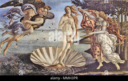 . Lëtzebuergesch: Gebuert vun der Venus vum Sandro Botticelli.  . circa 1485.   Sandro Botticelli (1445–1510)   Alternative names Birth name: Allessandro Filipepi Sandro Filipepi Alessandro di Mariano Filipepi Alessandro di Mariano Filipepi Botticelli  Description Italian painter and artist  Date of birth/death 1 March 1445 17 May 1510  Location of birth/death Florence Florence  Work location Florence (1469–1481), Pisa (1475), Rome (1481–1482), Florence (1482–1490), Volterra (ca. 1483), Mantua (1502), Florence (1503–1510)  Authority control  : Q5669 VIAF:?19686406 ISNI:?0000 0001 2099 4768 - Stock Photo