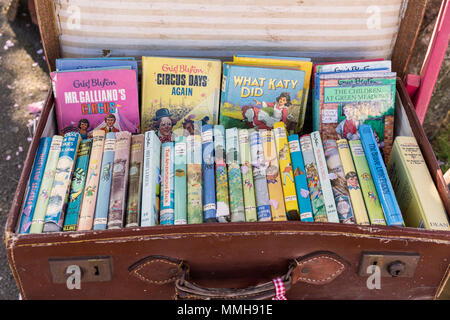Old suitcase of Enid Blyton books, Frome Sunday Market, Frome Somerset, England