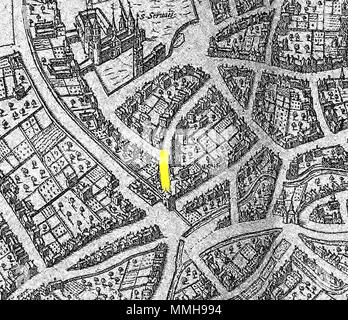 .  Nederlands: Detail van de stadsplattegrond van Maastricht die in 1572 in Keulen werd gepubliceerd. De kaart is opgenomen in de beroemde stedenatlas Civitates orbis terrarum van Georg Braun (1541-1622) en Frans Hogenberg (1535-1590). De Civitates was één van de bestsellers van het laatste kwart van de 16de eeuw. Originele afdrukken van deze kaart waren tot aan het einde van de 18de eeuw algemeen verkrijgbaar. De koperplaten van de atlas waren in 1653 in handen van de Amsterdamse uitgever Jan Janssonius (1588-1664) gekomen. Hij gebruikte de platen voor zijn eigen stedenatlas uit 1657. Na zijn - Stock Photo