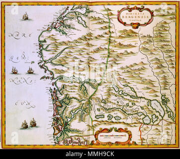 .  Nederlands: Deze kaart van het bisdom Bergen werd in 1662 gepubliceerd in het eerste deel van de Atlas Maior. Joan Blaeu (1598-1673) de uitgever van de kaart beschikte op dat moment niet over een actuele en betrouwbare kaart van het bisdom. Waarschijnlijk greep hij daarom terug op een oude overzichtskaart van Scandinavie uit 1626 van de Zweedse kartograaf Anders Bureus (1571-1661) en vergrootte hij het detail waarop het bisdom was afgebeeld. English: The map of the Diocese Bergen was published in 1662 in the first volume of the Atlas Maior. Joan Blaeu (1598-1673), the publisher of the map d - Stock Photo