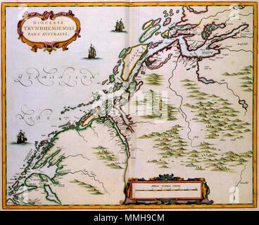 .  Nederlands: Joan Blaeu (1598-1673) publiceerde deze kaart van het zuidelijke deel van het Noorse bisdom Trondheim in 1662 in het eerste deel van de Atlas Maior. De kaart geeft geen actueel beeld van het bisdom, eenvoudigweg omdat Blaeu niet beschikte over recente kaarten. Daarom maakte hij een uitvergroting van een detail van een oude kaart van Scandinavie die hij al veel eerder had uitgegeven. English: Joan Blaeu (1598-1673) published this map of the southern part of the Norwegian Diocese Trundheim in 1662 in the first volume of the Atlas Maior. The map does not depict an accurate image of - Stock Photo