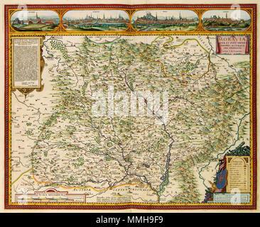 .  Nederlands: Deze kaart van Moravië werd in 1627 ontworpen door de in Amsterdam werkzame pedagoog John Amos Comenius (1592-1670). De kaart werd voor de uitgever Claes Jansz. Visscher (1587-1652) gegraveerd door Abraham Goos (ca. 1584-1643). We zien hier een latere editie van de kaart door Nicolaes Visscher II (1649-1702).; Langs de bovenkant van de kaart 4 stadsgezichten: POLNA, OIMUTS, BRIN, ZNAIM. Linksboven een opdracht van Johann Amos Commenius aan Lad. Welenio. English: The map of Moravia was designed in 1627 by John Amos Comenius (1592-1670). Abraham Goos (c. 1584-1643) engraved the ma - Stock Photo