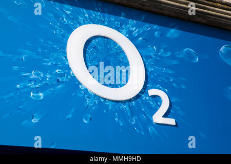 BRIGHTON, UK - MAY 4TH 2018: The O2 company logo above the entrance to one of their stores in Brighton city centre, on 4th May 2018. - Stock Photo