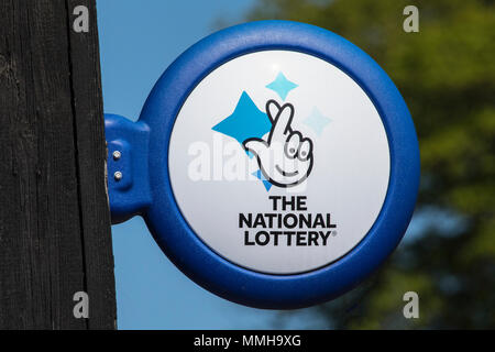 ARUNDEL, UK - May 5th 2018: Close-up of The National lottery Sign, on display outside a newsagents in the town of Arundel in West Sussex, on 5th May 2 - Stock Photo