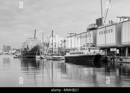 Genoa, Italy - May 14, 2017: The Old Port and the Biosfera glass ball, placed outside Genova Acquarium: the new waterfront redisegned by Renzo Piano i - Stock Photo