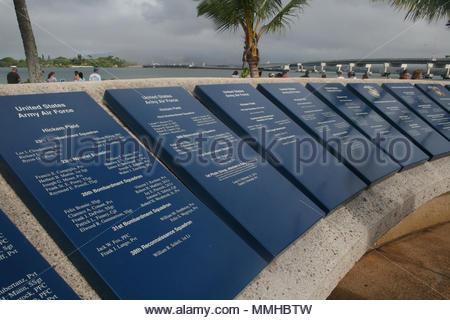 Plaques listing casualties at the U.S.S. Arizona Memorial Visitor Center at Pearl Harbor, Hawaii. - Stock Photo