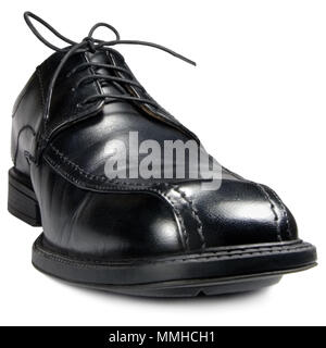 Classic men's black formal club shoe, isolated wide angle macro closeup - Stock Photo