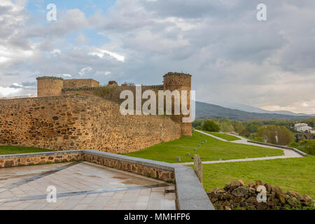 View of the castle of the city of El Barco or Valdecorneja castle built in the 12th century and rebuilt in the 15th century. Community of Castilla la  - Stock Photo