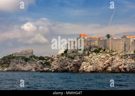 Fort Lovrijenac and Fort Bokar guarding the northern approaches to Dubrovnik, Croatia - Stock Photo