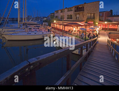 Port Grimaud, night, lagoon city at Gulf of Saint-Tropez, Cote d'Azur, South France, France, Europe - Stock Photo