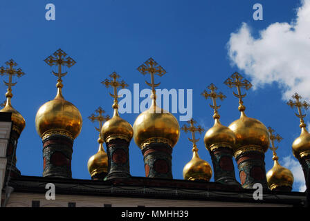Onion domes on the top of a Russian Orthodox church in Moscow, Russia - Stock Photo