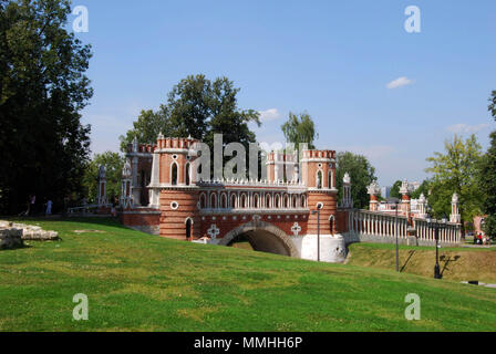 The Figured Bridge in Tsaritsyno Park dating back to 1776 in Moscow, Russia - Stock Photo