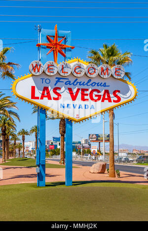 Iconic 'Welcome to Fabulous Downtown Las Vegas' sign on the south end of the Las Vegas Strip in Las Vegas, Nevada - Stock Photo