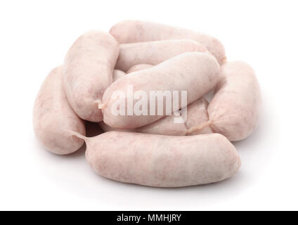 Pile of raw traditional bavarian white sausages isolated on white - Stock Photo