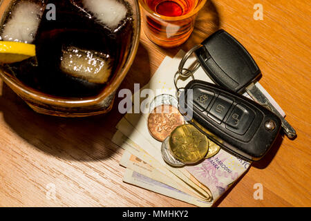 Whiskey, cocktail, money and car keys at the bar. Alcoholic glasses and car keys. Do not drink alcohol while driving a car.