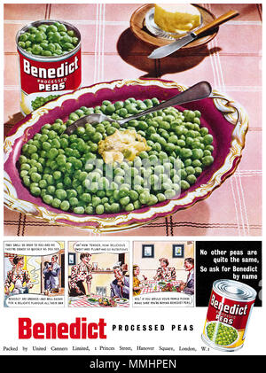 1950 British advertisement for Benedict processed peas. - Stock Photo