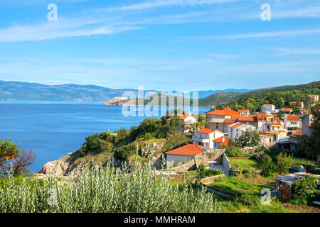 Small district of historic town Vrbnik on Krk island. Croatia - Stock Photo