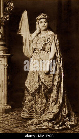 . English: Soprano Amalie Materna as the Queen of Saba in Goldmark's Die Königin von Saba, probably Vienna 1875.  . circa 1875. Unknown 41 Amalie Materna as Queen of Saba - IL2 - Stock Photo