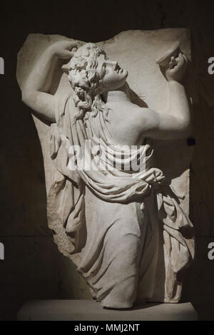 Dancing Maenad. Roman marble relief from the 2nd half of the 2nd century AD on display in the Kunsthistorisches Museum, Vienna, Austria. - Stock Photo