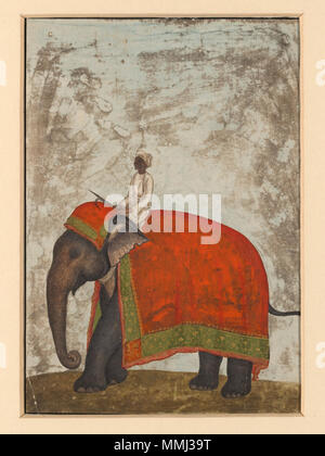 .  English: One of six figures from the Mughal emperor's ceremonial procession on the occasion of the Id.  . circa 1840 (painted). An elephant with a red saddle-cloth and a mahout. - Stock Photo